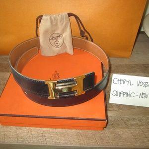 belt buckle & Reversible leather strap Size 70